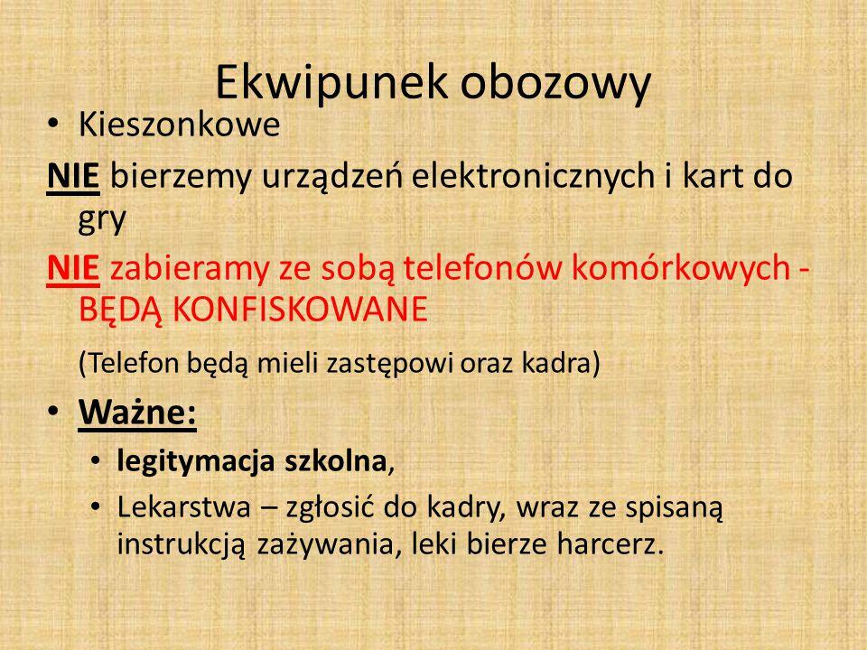 Ekwipunek obozowy Kieszonkowe NIE bierzemy urządzeń elektronicznych i kart do gry NIE zabieramy ze sobą telefonów komórkowych - BĘDĄ KONFISKOWANE (Tel