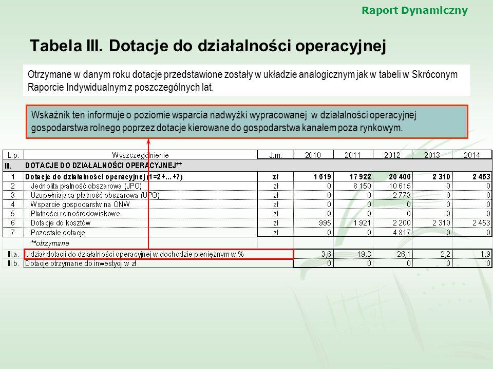 Raport Dynamiczny Tabela III. Dotacje do działalności operacyjnej Otrzymane w danym roku dotacje przedstawione zostały w układzie analogicznym jak w t