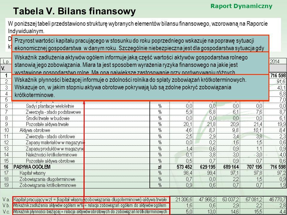 Raport Dynamiczny Tabela V. Bilans finansowy W poniższej tabeli przedstawiono strukturę wybranych elementów bilansu finansowego, wzorowaną na Raporcie