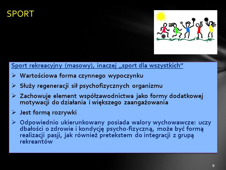 """Sport rekreacyjny (masowy), inaczej """"sport dla wszystkich""""  Wartościowa forma czynnego wypoczynku  Służy regeneracji sił psychofizycznych organizmu"""