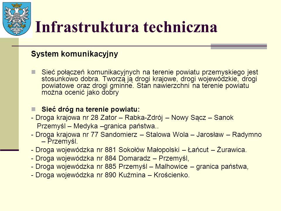 Infrastruktura techniczna System komunikacyjny Sieć połączeń komunikacyjnych na terenie powiatu przemyskiego jest stosunkowo dobra. Tworzą ją drogi kr