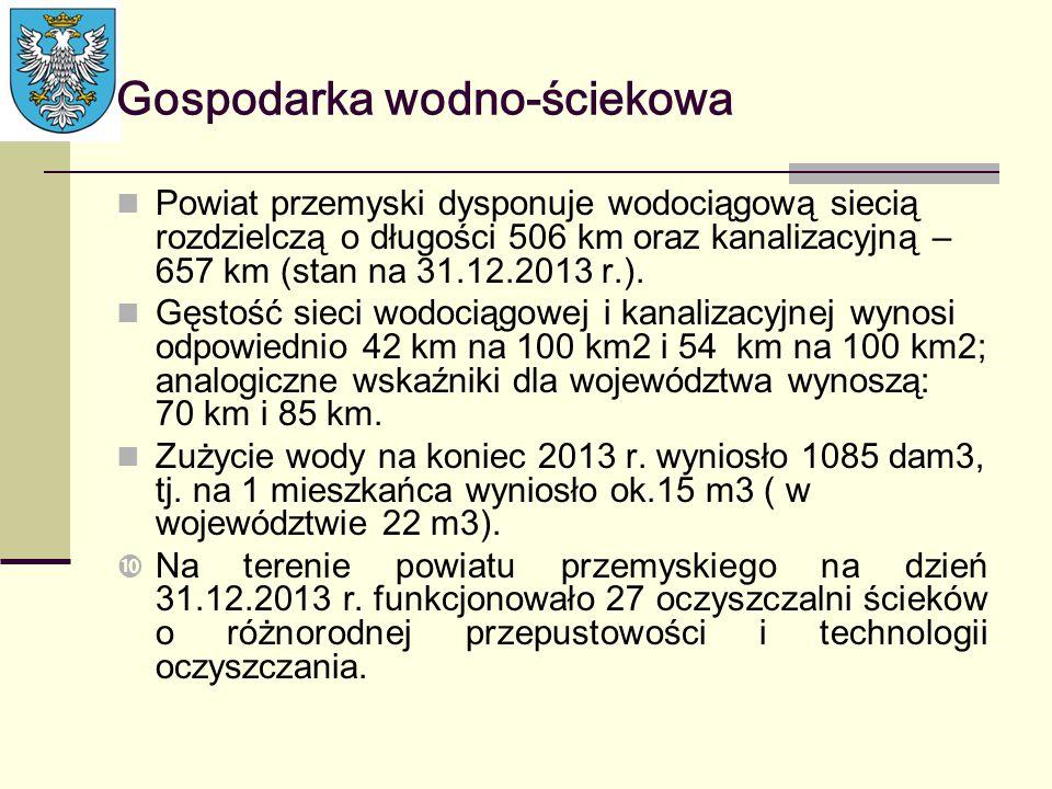 Gospodarka wodno-ściekowa Powiat przemyski dysponuje wodociągową siecią rozdzielczą o długości 506 km oraz kanalizacyjną – 657 km (stan na 31.12.2013