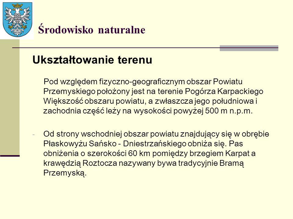 Środowisko naturalne Ukształtowanie terenu Pod względem fizyczno-geograficznym obszar Powiatu Przemyskiego położony jest na terenie Pogórza Karpackieg
