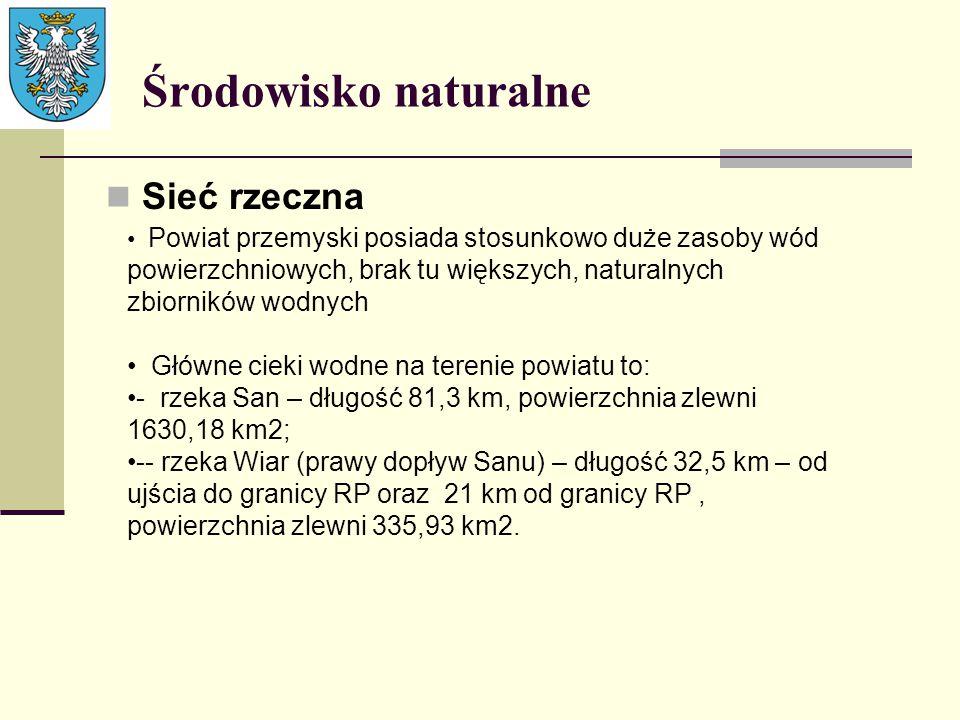 Środowisko naturalne Sieć rzeczna Powiat przemyski posiada stosunkowo duże zasoby wód powierzchniowych, brak tu większych, naturalnych zbiorników wodn
