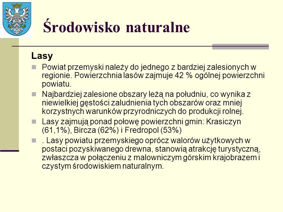 Lasy Powiat przemyski należy do jednego z bardziej zalesionych w regionie. Powierzchnia lasów zajmuje 42 % ogólnej powierzchni powiatu. Najbardziej za