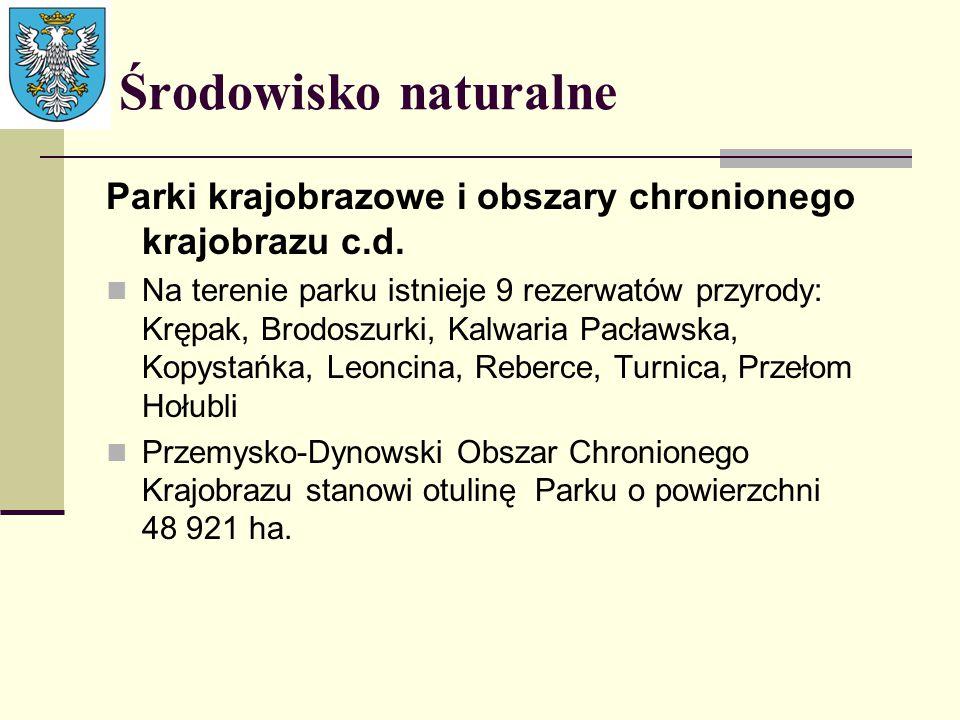 Środowisko naturalne Parki krajobrazowe i obszary chronionego krajobrazu c.d. Na terenie parku istnieje 9 rezerwatów przyrody: Krępak, Brodoszurki, Ka