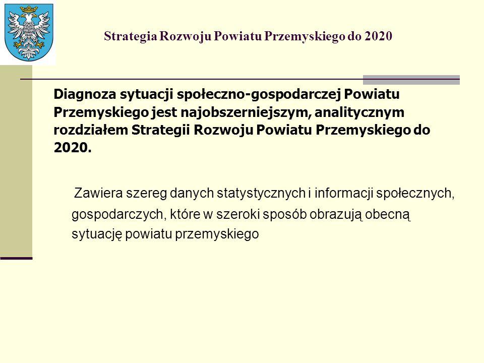Strategia Rozwoju Powiatu Przemyskiego do 2020 Diagnoza sytuacji społeczno-gospodarczej Powiatu Przemyskiego jest najobszerniejszym, analitycznym rozd