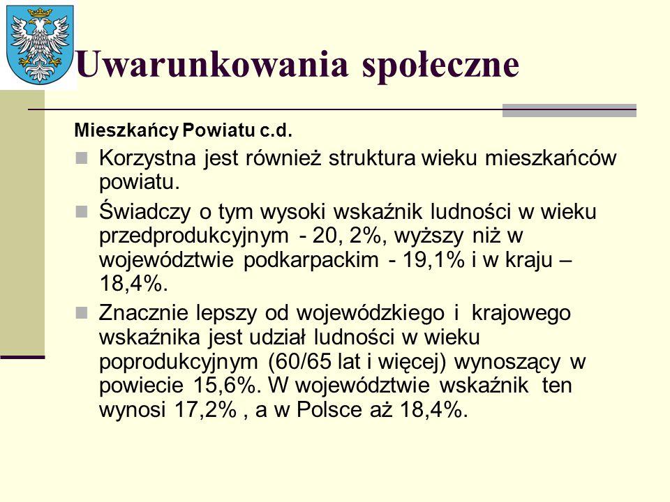 Uwarunkowania społeczne Mieszkańcy Powiatu c.d. Korzystna jest również struktura wieku mieszkańców powiatu. Świadczy o tym wysoki wskaźnik ludności w
