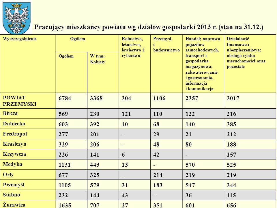 Pracujący mieszkańcy powiatu wg działów gospodarki 2013 r. (stan na 31.12.) Wyszczególnienie OgółemRolnictwo, leśnictwo, łowiectwo i rybactwo Przemysł