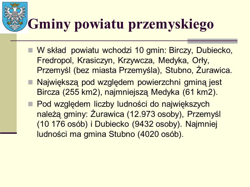 Gminy powiatu przemyskiego W skład powiatu wchodzi 10 gmin: Birczy, Dubiecko, Fredropol, Krasiczyn, Krzywcza, Medyka, Orły, Przemyśl (bez miasta Przem