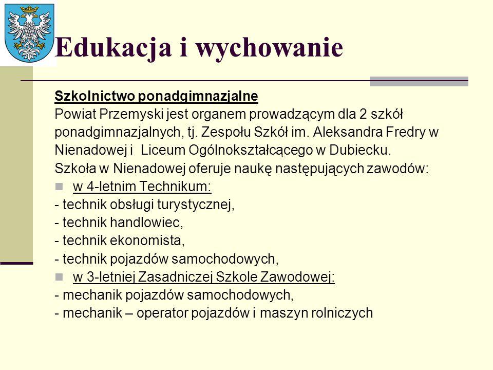 Edukacja i wychowanie Szkolnictwo ponadgimnazjalne Powiat Przemyski jest organem prowadzącym dla 2 szkół ponadgimnazjalnych, tj. Zespołu Szkół im. Ale