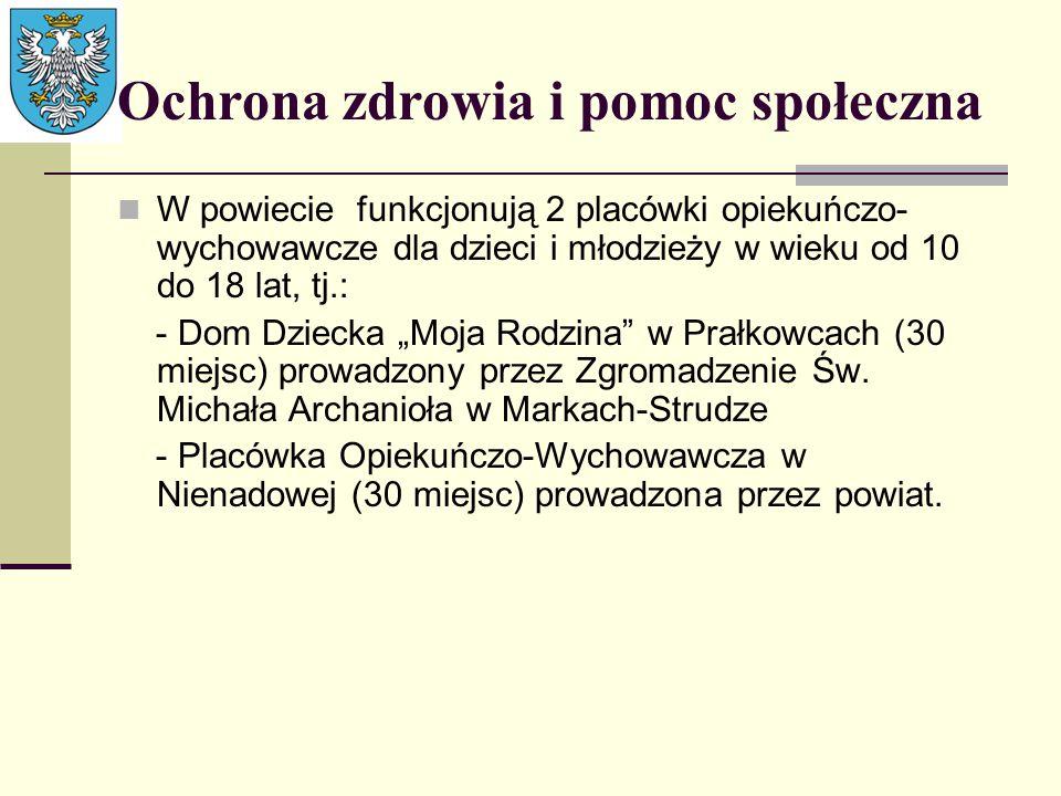Ochrona zdrowia i pomoc społeczna W powiecie funkcjonują 2 placówki opiekuńczo- wychowawcze dla dzieci i młodzieży w wieku od 10 do 18 lat, tj.: - Dom
