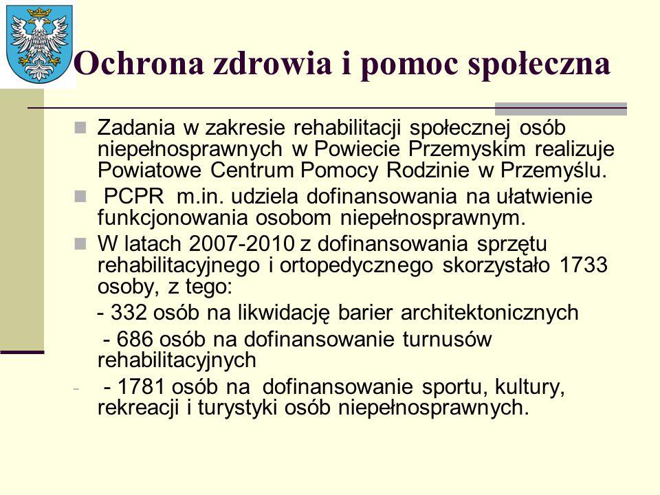 Ochrona zdrowia i pomoc społeczna Zadania w zakresie rehabilitacji społecznej osób niepełnosprawnych w Powiecie Przemyskim realizuje Powiatowe Centrum