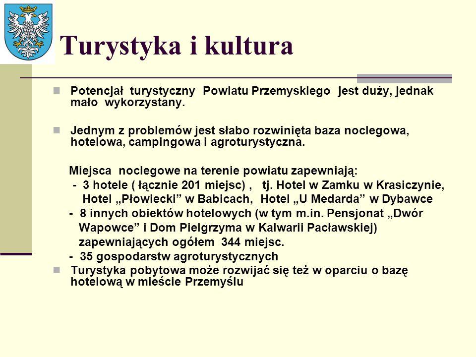 Turystyka i kultura Potencjał turystyczny Powiatu Przemyskiego jest duży, jednak mało wykorzystany. Jednym z problemów jest słabo rozwinięta baza nocl