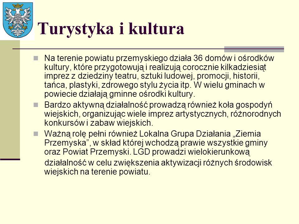 Turystyka i kultura Na terenie powiatu przemyskiego działa 36 domów i ośrodków kultury, które przygotowują i realizują corocznie kilkadziesiąt imprez