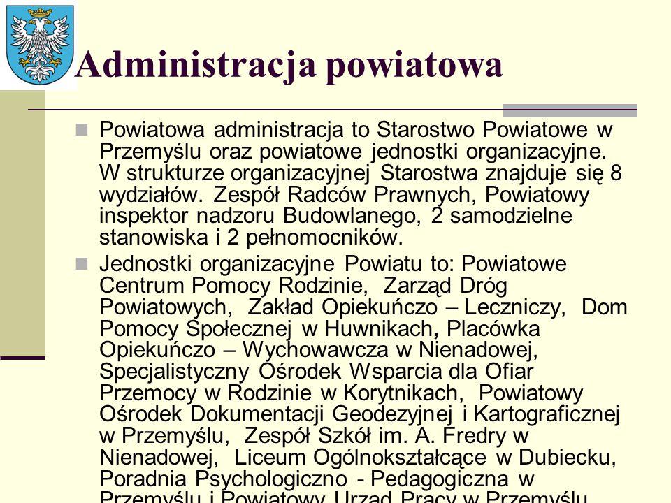 Administracja powiatowa Powiatowa administracja to Starostwo Powiatowe w Przemyślu oraz powiatowe jednostki organizacyjne. W strukturze organizacyjnej
