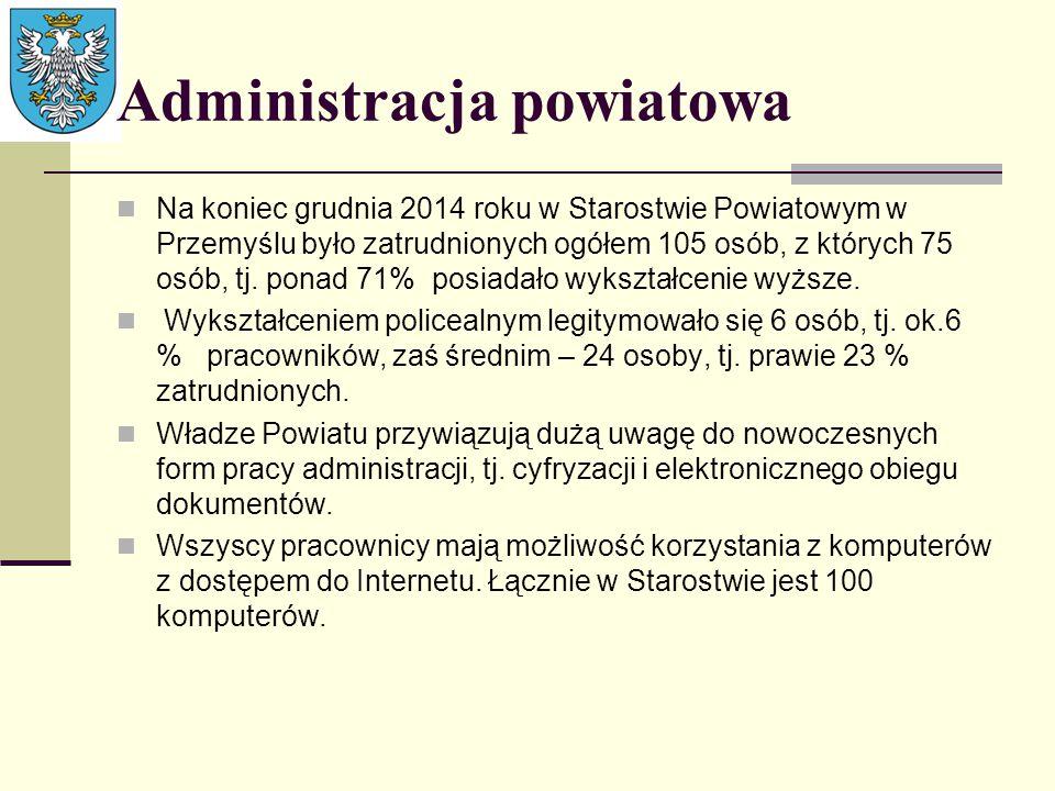Administracja powiatowa Na koniec grudnia 2014 roku w Starostwie Powiatowym w Przemyślu było zatrudnionych ogółem 105 osób, z których 75 osób, tj. pon