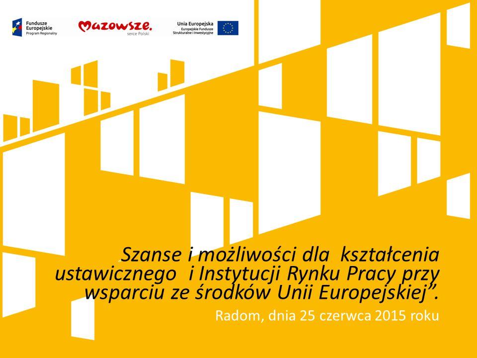 """"""" Szanse i możliwości dla kształcenia ustawicznego i Instytucji Rynku Pracy przy wsparciu ze środków Unii Europejskiej ."""