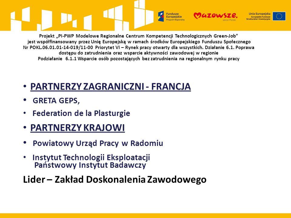 """Projekt """"PI-PWP Modelowe Regionalne Centrum Kompetencji Technologicznych Green-Job jest współfinansowany przez Unię Europejską w ramach środków Europejskiego Funduszu Społecznego Nr POKL.06.01.01-14-019/11-00 Priorytet VI – Rynek pracy otwarty dla wszystkich."""