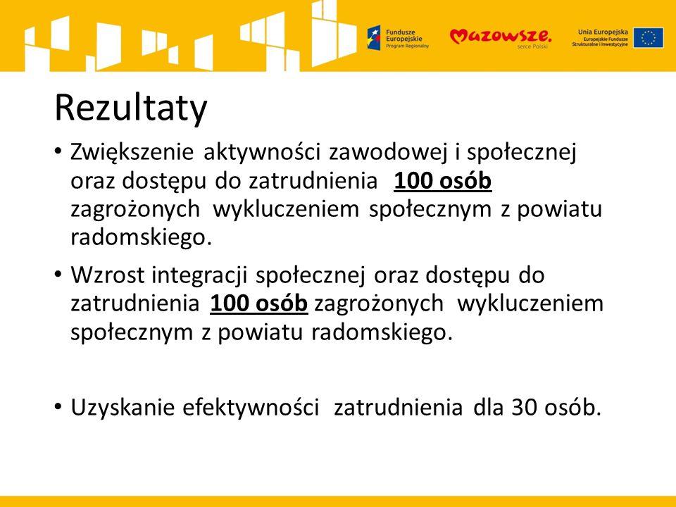 Rezultaty Zwiększenie aktywności zawodowej i społecznej oraz dostępu do zatrudnienia 100 osób zagrożonych wykluczeniem społecznym z powiatu radomskiego.