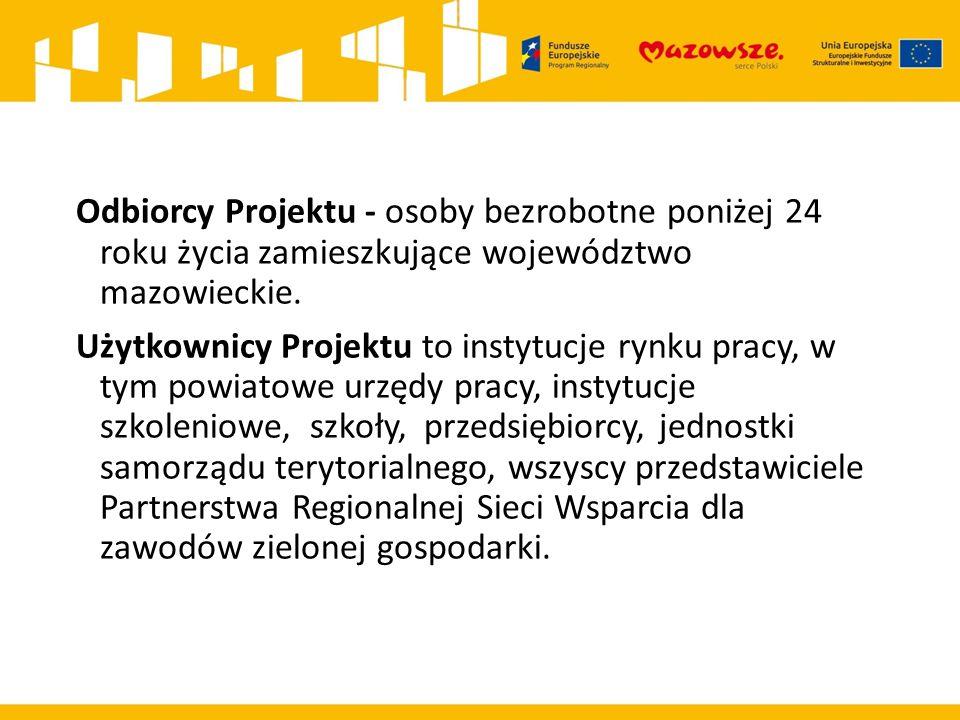 Odbiorcy Projektu - osoby bezrobotne poniżej 24 roku życia zamieszkujące województwo mazowieckie.