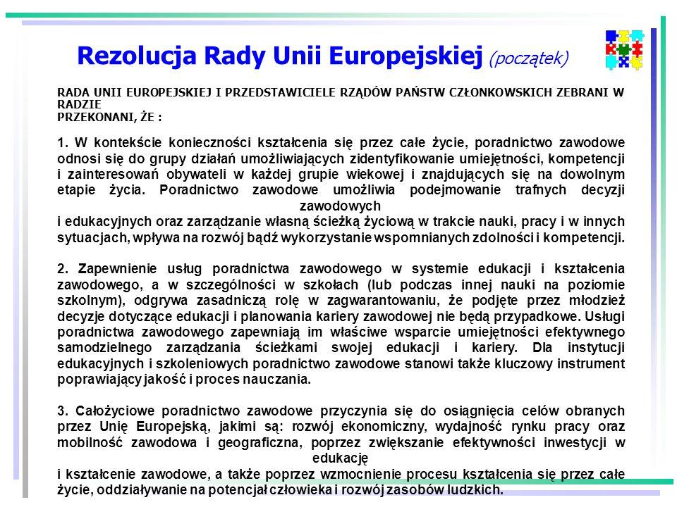 Rezolucja Rady Unii Europejskiej (początek) RADA UNII EUROPEJSKIEJ I PRZEDSTAWICIELE RZĄDÓW PAŃSTW CZŁONKOWSKICH ZEBRANI W RADZIE PRZEKONANI, ŻE : 1.