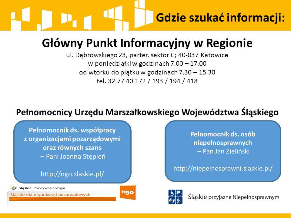 Gdzie szukać informacji: Główny Punkt Informacyjny w Regionie ul. Dąbrowskiego 23, parter, sektor C; 40-037 Katowice w poniedziałki w godzinach 7.00 –