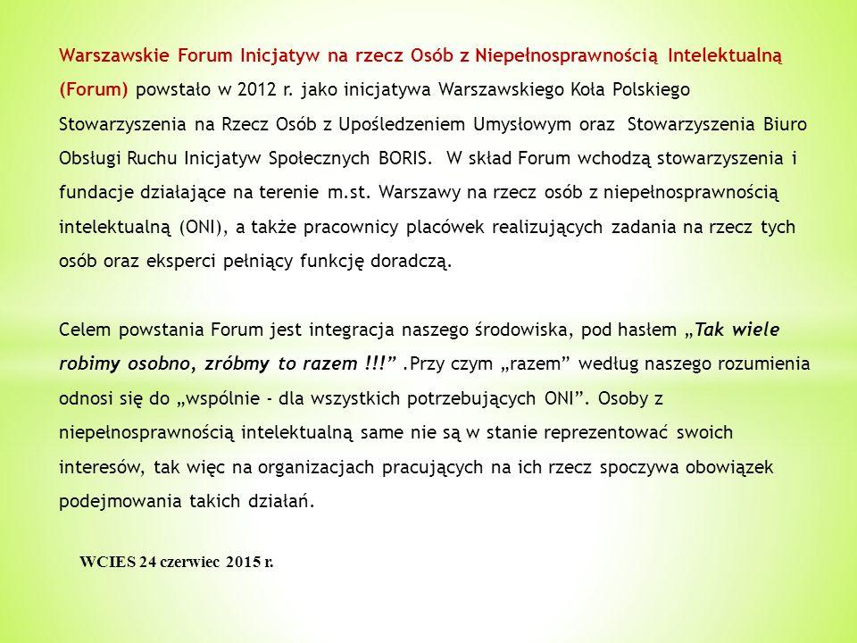 Warszawskie Forum Inicjatyw na rzecz Osób z Niepełnosprawnością Intelektualną (Forum) powstało w 2012 r.