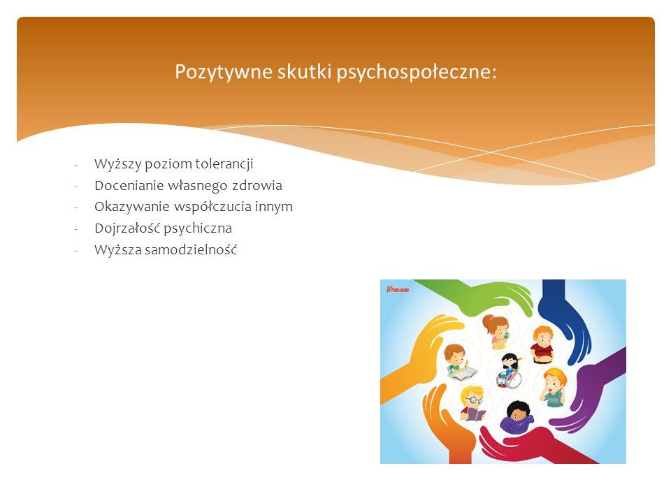 -Wyższy poziom tolerancji -Docenianie własnego zdrowia -Okazywanie współczucia innym -Dojrzałość psychiczna -Wyższa samodzielność Pozytywne skutki psy