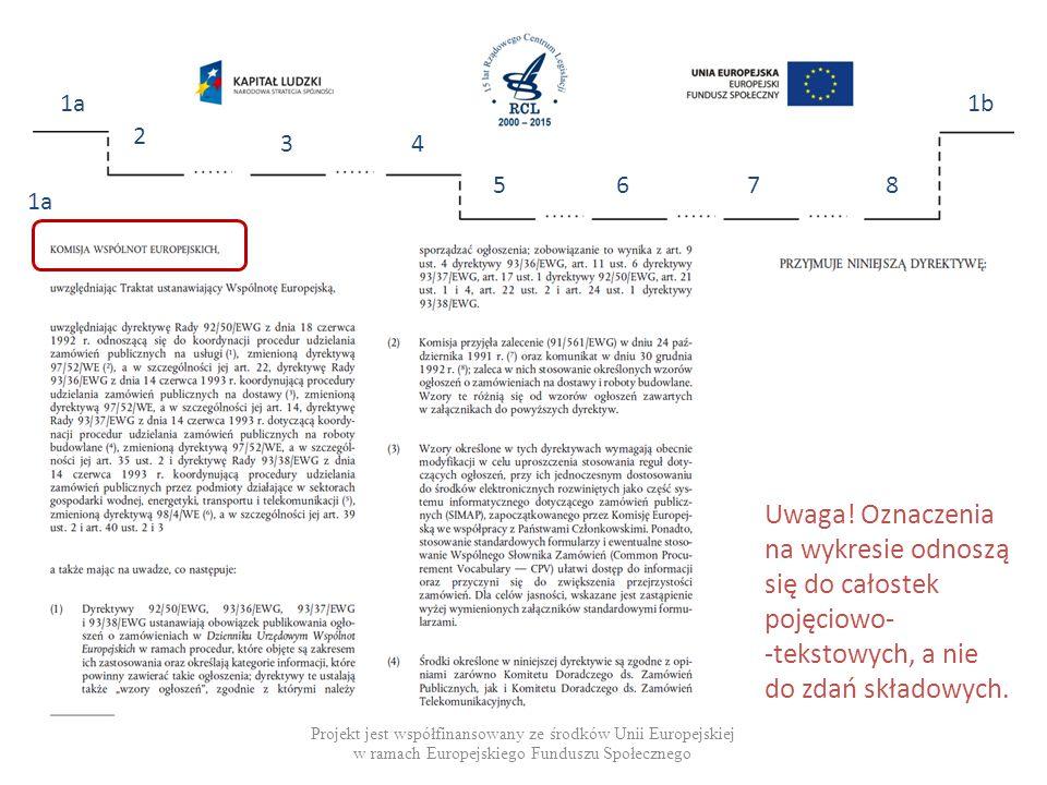 Projekt jest współfinansowany ze środków Unii Europejskiej w ramach Europejskiego Funduszu Społecznego 1a 2 34 5678 1b 1a Uwaga.