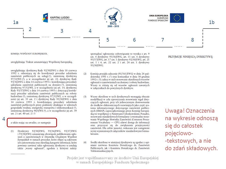 Projekt jest współfinansowany ze środków Unii Europejskiej w ramach Europejskiego Funduszu Społecznego 1a 2 34 5678 1b 4 Uwaga.