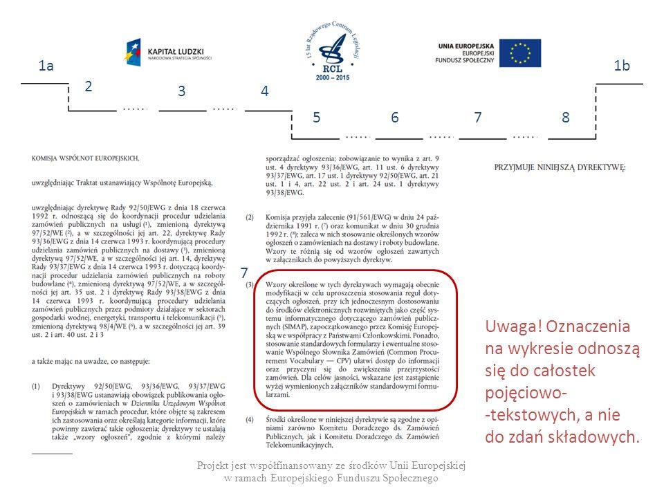 Projekt jest współfinansowany ze środków Unii Europejskiej w ramach Europejskiego Funduszu Społecznego 1a 2 34 5678 1b 7 Uwaga.