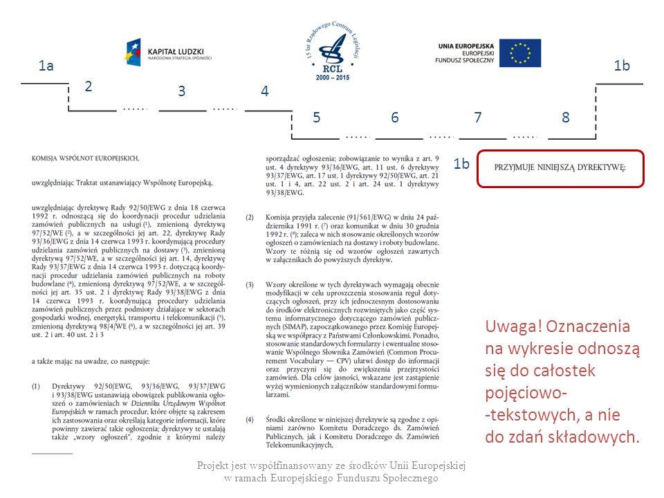 Projekt jest współfinansowany ze środków Unii Europejskiej w ramach Europejskiego Funduszu Społecznego 1a 2 34 5678 1b Uwaga.