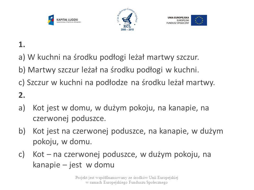 Projekt jest współfinansowany ze środków Unii Europejskiej w ramach Europejskiego Funduszu Społecznego 1.