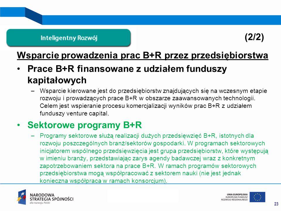 Wsparcie prowadzenia prac B+R przez przedsiębiorstwa Prace B+R finansowane z udziałem funduszy kapitałowych –Wsparcie kierowane jest do przedsiębiorstw znajdujących się na wczesnym etapie rozwoju i prowadzących prace B+R w obszarze zaawansowanych technologii.