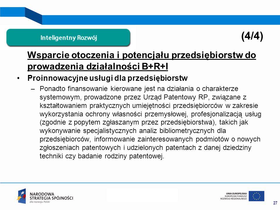 Wsparcie otoczenia i potencjału przedsiębiorstw do prowadzenia działalności B+R+I Proinnowacyjne usługi dla przedsiębiorstw –Ponadto finansowanie kierowane jest na działania o charakterze systemowym, prowadzone przez Urząd Patentowy RP, związane z kształtowaniem praktycznych umiejętności przedsiębiorców w zakresie wykorzystania ochrony własności przemysłowej, profesjonalizacją usług (zgodnie z popytem zgłaszanym przez przedsiębiorstwa), takich jak wykonywanie specjalistycznych analiz bibliometrycznych dla przedsiębiorców, informowanie zainteresowanych podmiotów o nowych zgłoszeniach patentowych i udzielonych patentach z danej dziedziny techniki czy badanie rodziny patentowej.