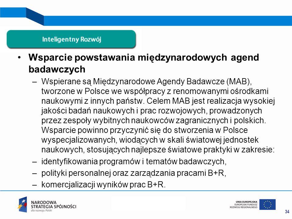 Wsparcie powstawania międzynarodowych agend badawczych –Wspierane są Międzynarodowe Agendy Badawcze (MAB), tworzone w Polsce we współpracy z renomowanymi ośrodkami naukowymi z innych państw.