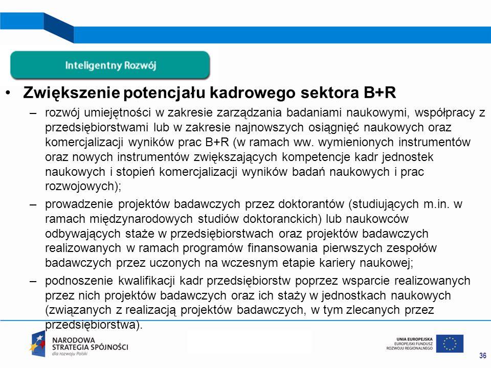 Zwiększenie potencjału kadrowego sektora B+R –rozwój umiejętności w zakresie zarządzania badaniami naukowymi, współpracy z przedsiębiorstwami lub w zakresie najnowszych osiągnięć naukowych oraz komercjalizacji wyników prac B+R (w ramach ww.