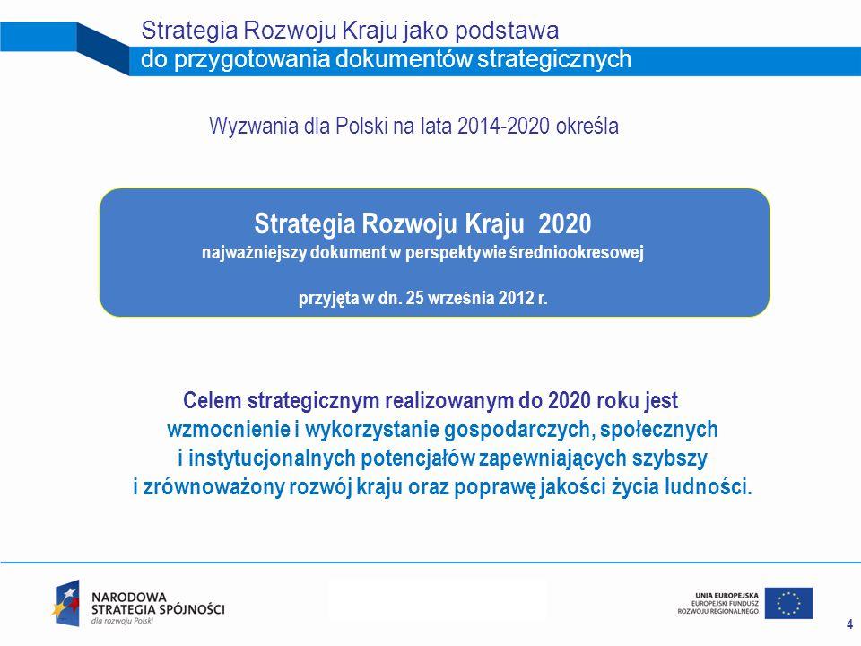 4 Strategia Rozwoju Kraju jako podstawa do przygotowania dokumentów strategicznych Strategia Rozwoju Kraju 2020 najważniejszy dokument w perspektywie średniookresowej przyjęta w dn.