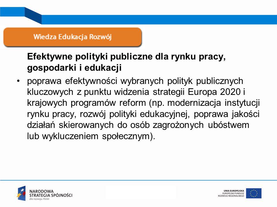 Efektywne polityki publiczne dla rynku pracy, gospodarki i edukacji poprawa efektywności wybranych polityk publicznych kluczowych z punktu widzenia strategii Europa 2020 i krajowych programów reform (np.