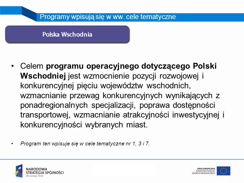 Celem programu operacyjnego dotyczącego Polski Wschodniej jest wzmocnienie pozycji rozwojowej i konkurencyjnej pięciu województw wschodnich, wzmacnianie przewag konkurencyjnych wynikających z ponadregionalnych specjalizacji, poprawa dostępności transportowej, wzmacnianie atrakcyjności inwestycyjnej i konkurencyjności wybranych miast.