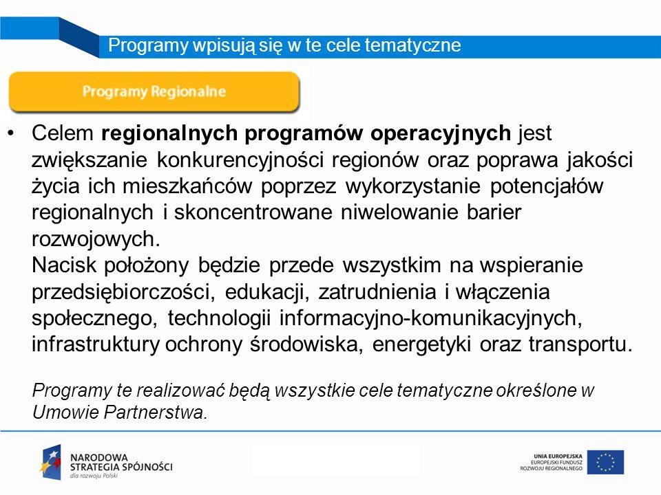 Celem regionalnych programów operacyjnych jest zwiększanie konkurencyjności regionów oraz poprawa jakości życia ich mieszkańców poprzez wykorzystanie potencjałów regionalnych i skoncentrowane niwelowanie barier rozwojowych.