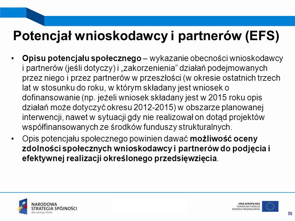 """Potencjał wnioskodawcy i partnerów (EFS) Opisu potencjału społecznego – wykazanie obecności wnioskodawcy i partnerów (jeśli dotyczy) i """"zakorzenienia działań podejmowanych przez niego i przez partnerów w przeszłości (w okresie ostatnich trzech lat w stosunku do roku, w którym składany jest wniosek o dofinansowanie (np."""