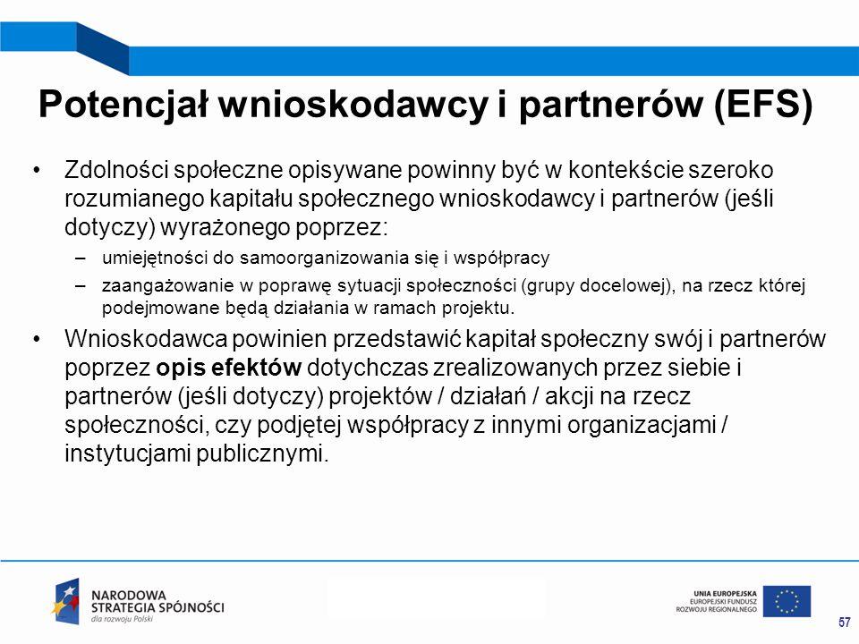 Potencjał wnioskodawcy i partnerów (EFS) Zdolności społeczne opisywane powinny być w kontekście szeroko rozumianego kapitału społecznego wnioskodawcy i partnerów (jeśli dotyczy) wyrażonego poprzez: –umiejętności do samoorganizowania się i współpracy –zaangażowanie w poprawę sytuacji społeczności (grupy docelowej), na rzecz której podejmowane będą działania w ramach projektu.