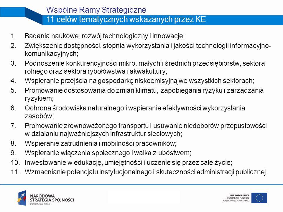 1.Badania naukowe, rozwój technologiczny i innowacje; 2.Zwiększenie dostępności, stopnia wykorzystania i jakości technologii informacyjno- komunikacyjnych; 3.Podnoszenie konkurencyjności mikro, małych i średnich przedsiębiorstw, sektora rolnego oraz sektora rybołówstwa i akwakultury; 4.Wspieranie przejścia na gospodarkę niskoemisyjną we wszystkich sektorach; 5.Promowanie dostosowania do zmian klimatu, zapobiegania ryzyku i zarządzania ryzykiem; 6.Ochrona środowiska naturalnego i wspieranie efektywności wykorzystania zasobów; 7.Promowanie zrównoważonego transportu i usuwanie niedoborów przepustowości w działaniu najważniejszych infrastruktur sieciowych; 8.Wspieranie zatrudnienia i mobilności pracowników; 9.Wspieranie włączenia społecznego i walka z ubóstwem; 10.Inwestowanie w edukację, umiejętności i uczenie się przez całe życie; 11.Wzmacnianie potencjału instytucjonalnego i skuteczności administracji publicznej.
