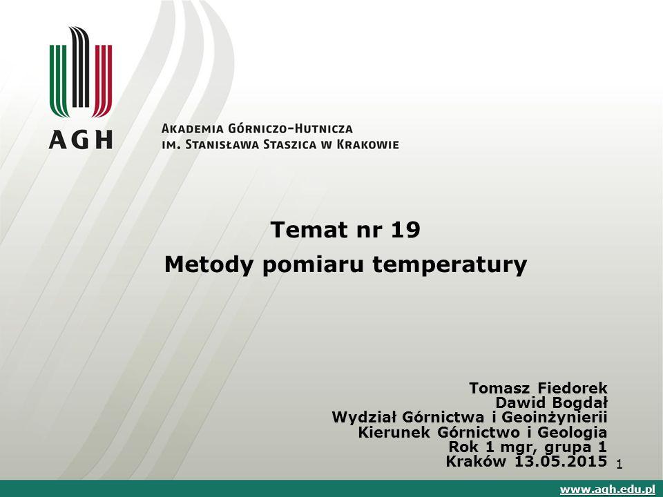 Termometry rezystancyjne, oporowe Zależność oporu platyny od temperatury 22