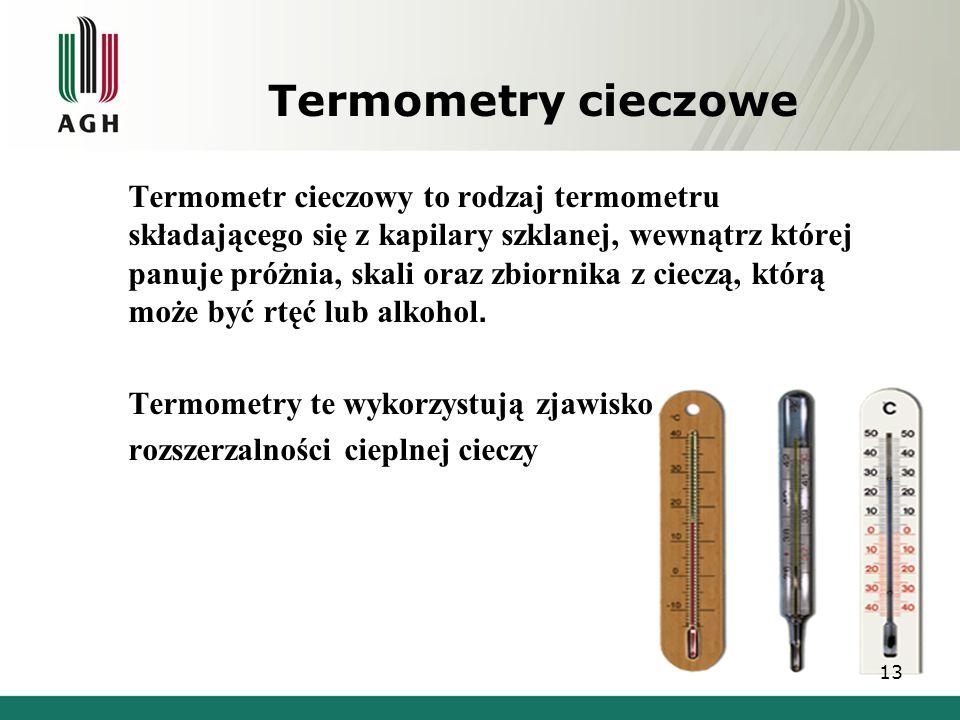 Termometry cieczowe Termometr cieczowy to rodzaj termometru składającego się z kapilary szklanej, wewnątrz której panuje próżnia, skali oraz zbiornika