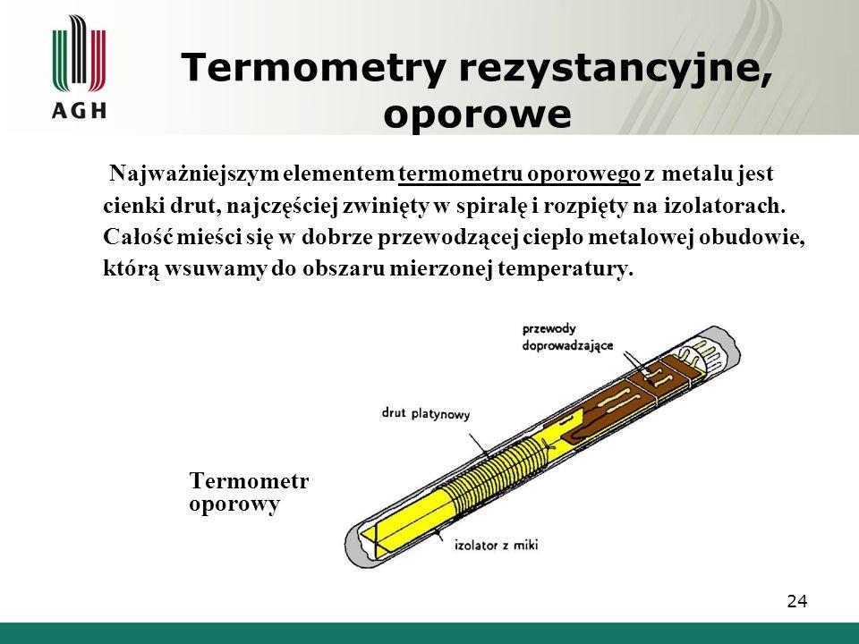 Termometry rezystancyjne, oporowe Najważniejszym elementem termometru oporowego z metalu jest cienki drut, najczęściej zwinięty w spiralę i rozpięty n