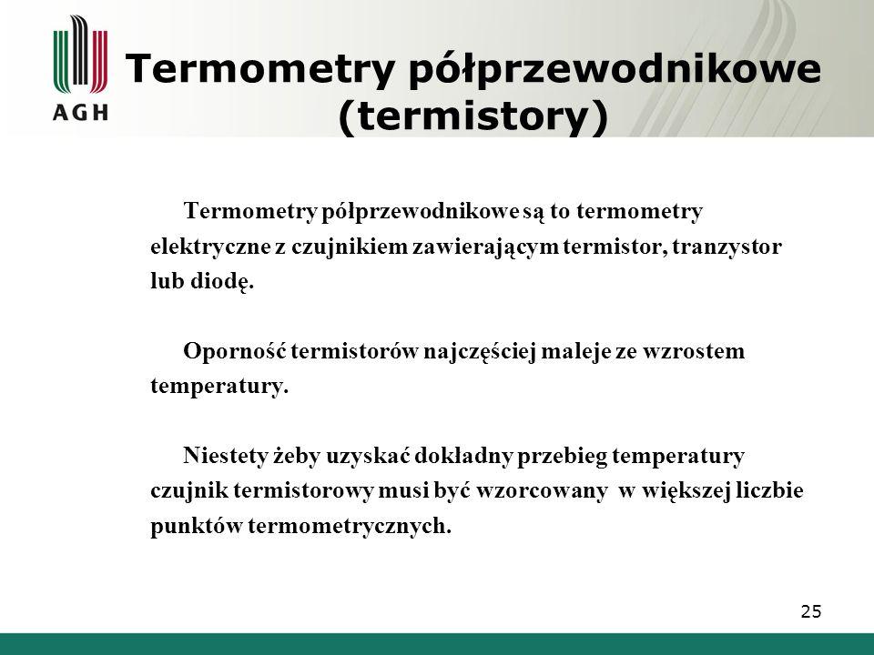 Termometry półprzewodnikowe (termistory) Termometry półprzewodnikowe są to termometry elektryczne z czujnikiem zawierającym termistor, tranzystor lub