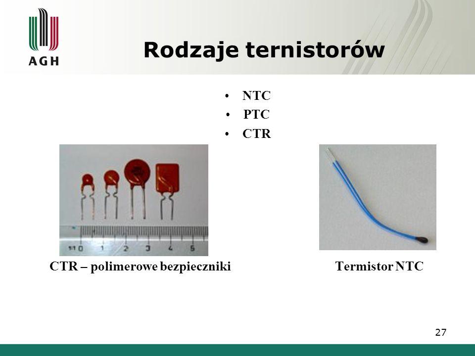 Rodzaje ternistorów NTC PTC CTR CTR – polimerowe bezpieczniki Termistor NTC 27